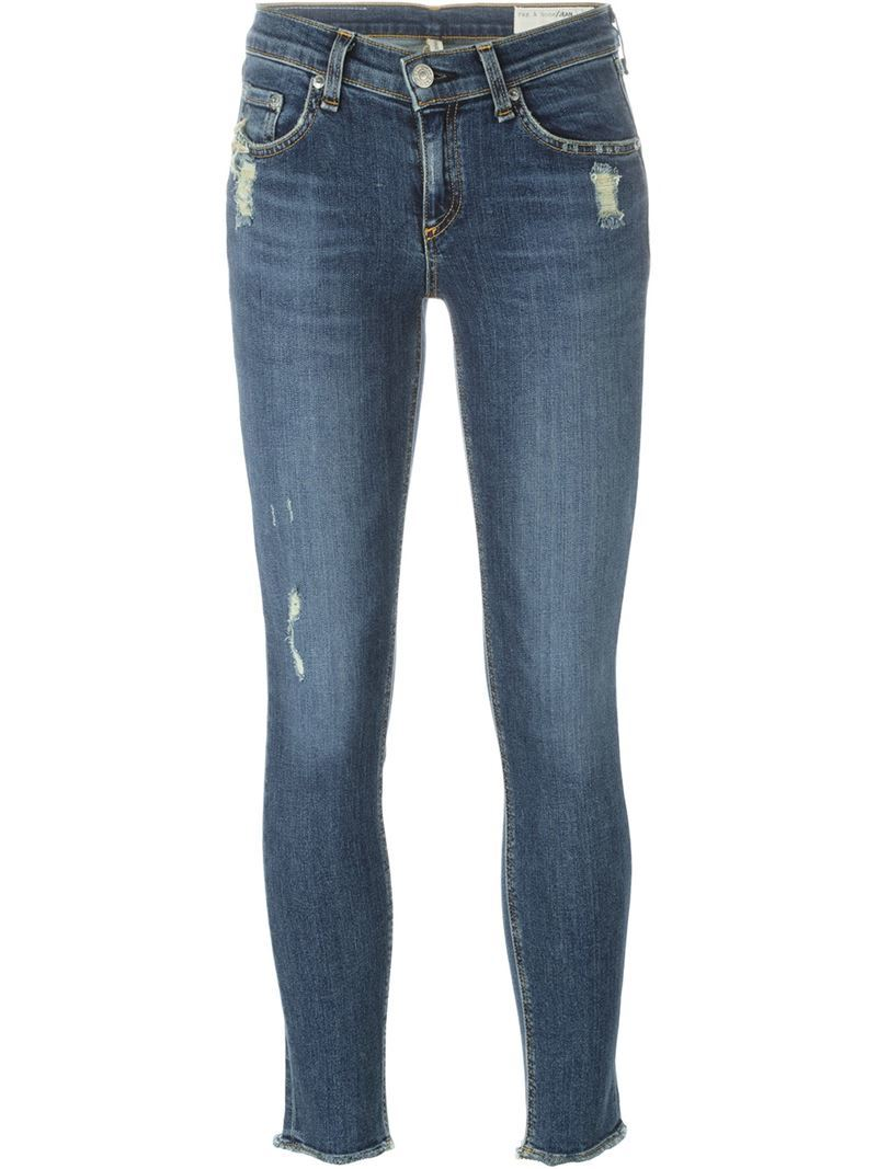 Distressed Cropped Jeans, Women's, Blue - pattern: plain; pocket detail: traditional 5 pocket; style: slim leg; waist: mid/regular rise; predominant colour: denim; occasions: casual; length: ankle length; fibres: cotton - stretch; texture group: denim; pattern type: fabric; season: s/s 2016; wardrobe: basic