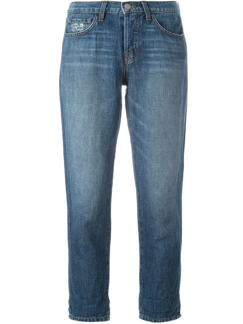 Stonewash Effect Cropped Jeans, Women's, Blue - style: boyfriend; pattern: plain; pocket detail: traditional 5 pocket; waist: mid/regular rise; predominant colour: denim; occasions: casual; length: ankle length; fibres: cotton - mix; jeans detail: whiskering, washed/faded; texture group: denim; pattern type: fabric; season: s/s 2016; wardrobe: basic