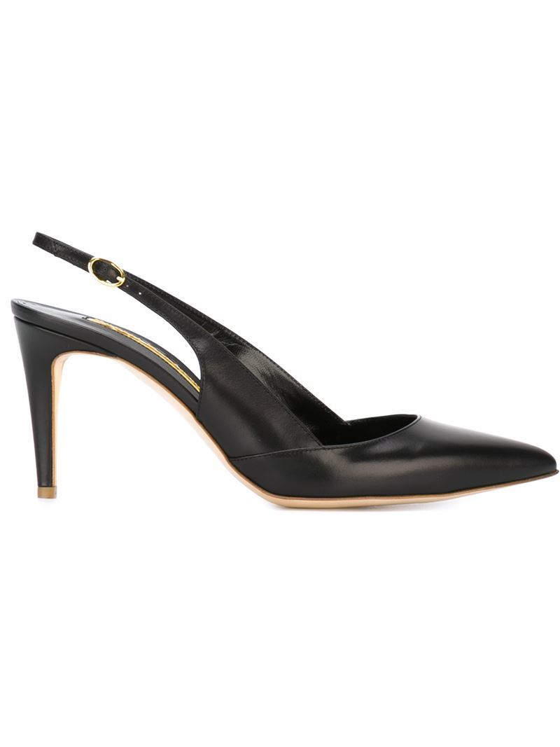'daina' Sling Back Pumps, Women's, Black - predominant colour: black; occasions: evening, work; material: leather; heel height: high; heel: stiletto; toe: pointed toe; style: slingbacks; finish: plain; pattern: plain; season: s/s 2016