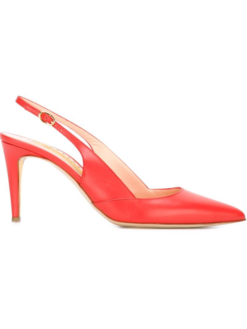 'daina' Sling Back Pumps, Women's, Size: 37.5, Red - predominant colour: bright orange; occasions: evening, occasion; material: leather; heel height: high; ankle detail: ankle strap; heel: stiletto; toe: pointed toe; style: slingbacks; finish: plain; pattern: plain; season: s/s 2016; wardrobe: event