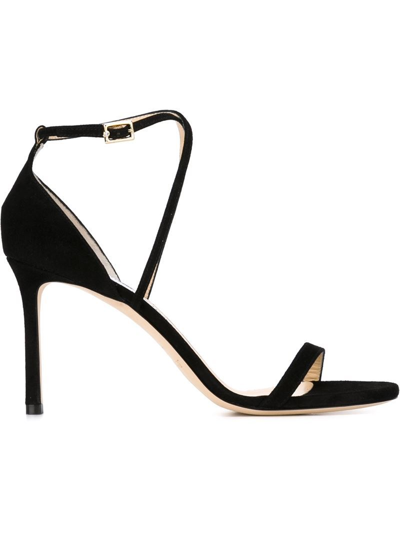 'hesper' Sandals, Women's, Black - predominant colour: black; occasions: evening, occasion; material: suede; ankle detail: ankle strap; heel: stiletto; toe: open toe/peeptoe; style: strappy; finish: plain; pattern: plain; heel height: very high; season: s/s 2016