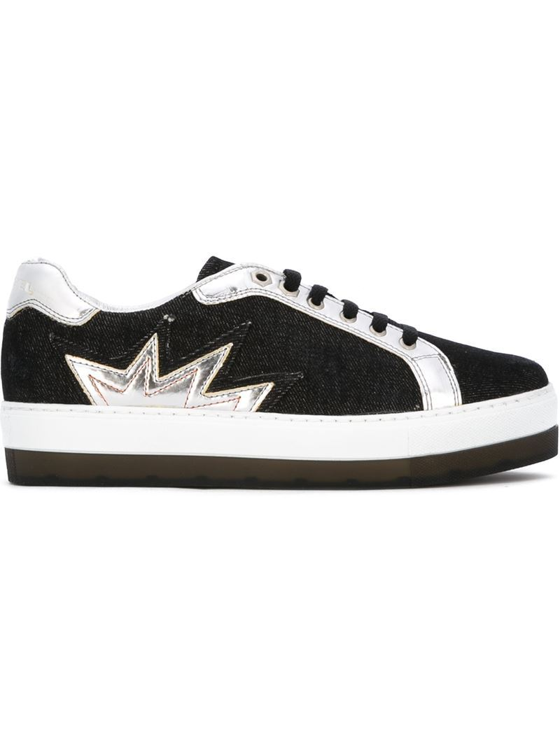 'sandy Star' Sneakers, Women's, Size: 39, Black - secondary colour: silver; predominant colour: black; occasions: casual, creative work; material: leather; heel height: flat; toe: round toe; style: trainers; finish: plain; pattern: colourblock; shoe detail: moulded soul; season: s/s 2016