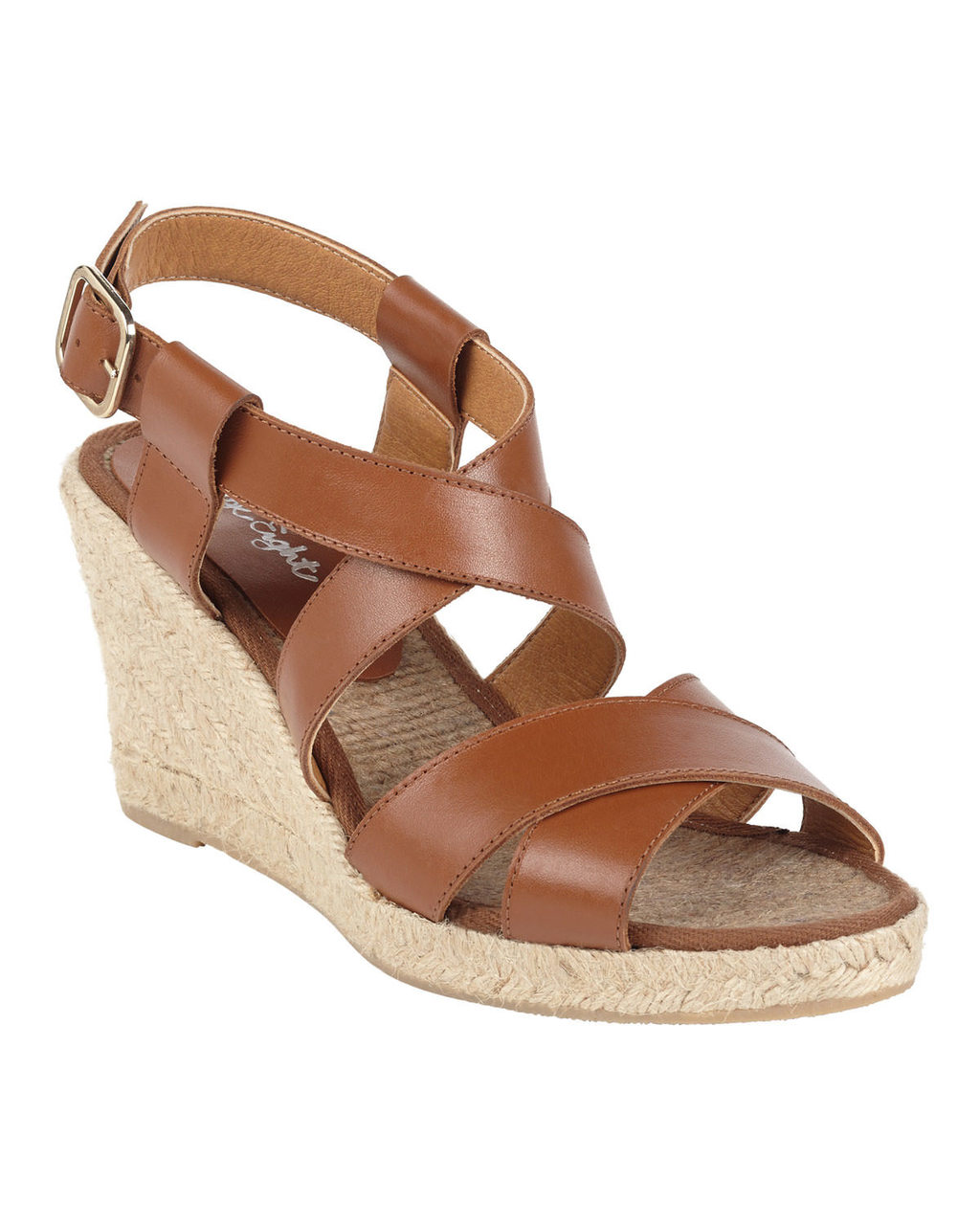 Tilly Leather Wedge - predominant colour: tan; occasions: casual, holiday; material: leather; heel height: high; ankle detail: ankle strap; heel: wedge; toe: open toe/peeptoe; style: strappy; finish: plain; pattern: plain; shoe detail: platform; season: s/s 2016; wardrobe: highlight