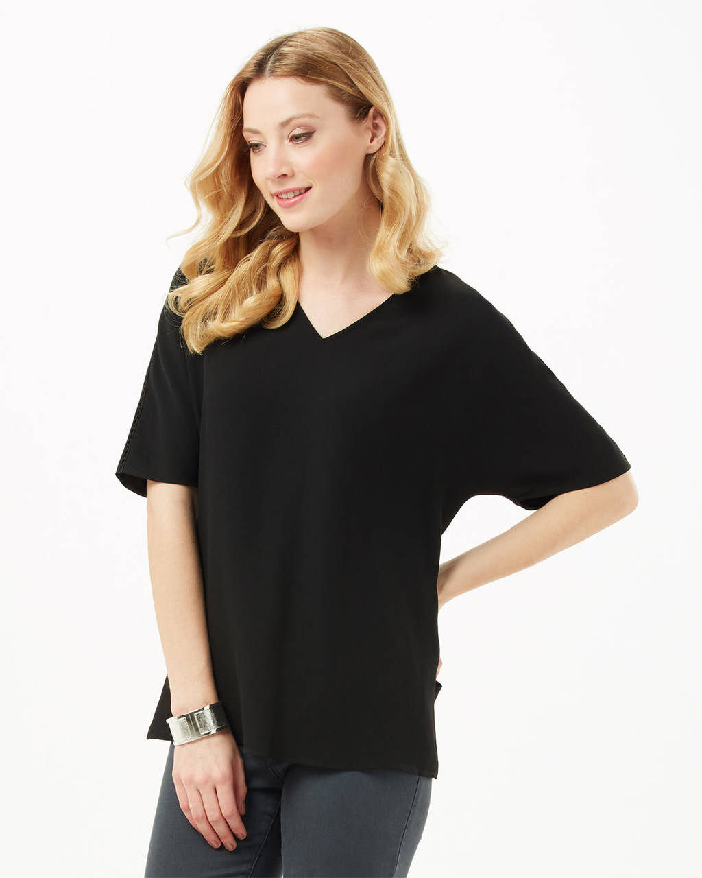 Sylvia V Neck Blouse - neckline: v-neck; sleeve style: dolman/batwing; pattern: plain; style: t-shirt; predominant colour: black; occasions: casual, creative work; length: standard; fibres: polyester/polyamide - 100%; fit: loose; sleeve length: half sleeve; texture group: crepes; pattern type: fabric; season: s/s 2016; wardrobe: basic