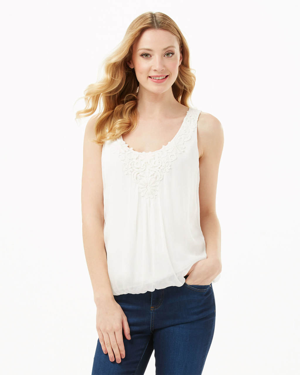 Lua Lace Trim Blouse - neckline: round neck; sleeve style: sleeveless; style: vest top; predominant colour: white; occasions: evening; length: standard; fibres: silk - 100%; fit: body skimming; sleeve length: sleeveless; texture group: lace; pattern type: fabric; pattern size: light/subtle; pattern: patterned/print; embellishment: lace; season: s/s 2016