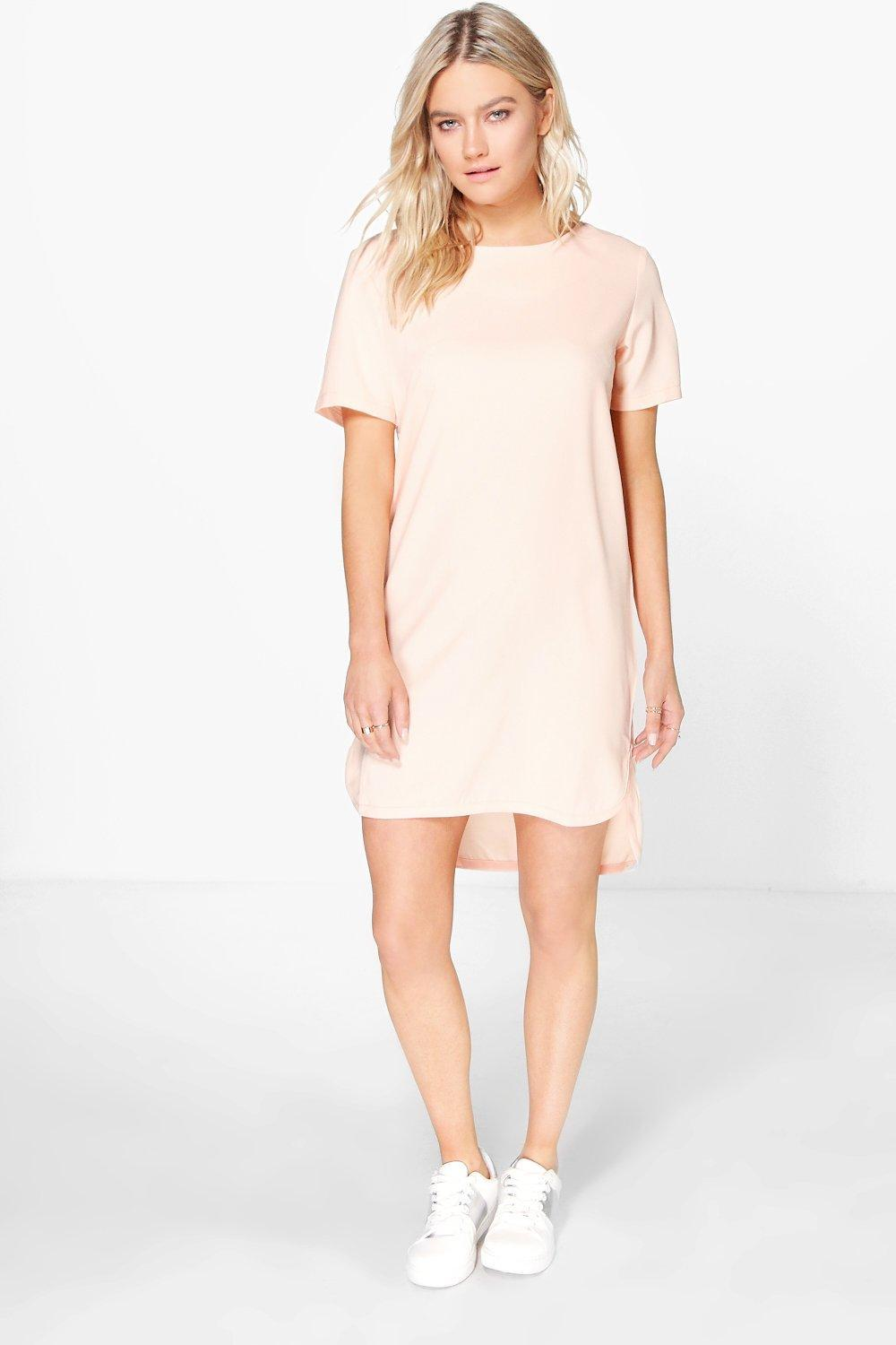 Step Hem Woven Shift Dress Nude - style: shift; length: mid thigh; pattern: plain; predominant colour: nude; occasions: casual; fit: body skimming; fibres: polyester/polyamide - 100%; neckline: crew; sleeve length: short sleeve; sleeve style: standard; pattern type: fabric; texture group: other - light to midweight; season: s/s 2016; wardrobe: basic