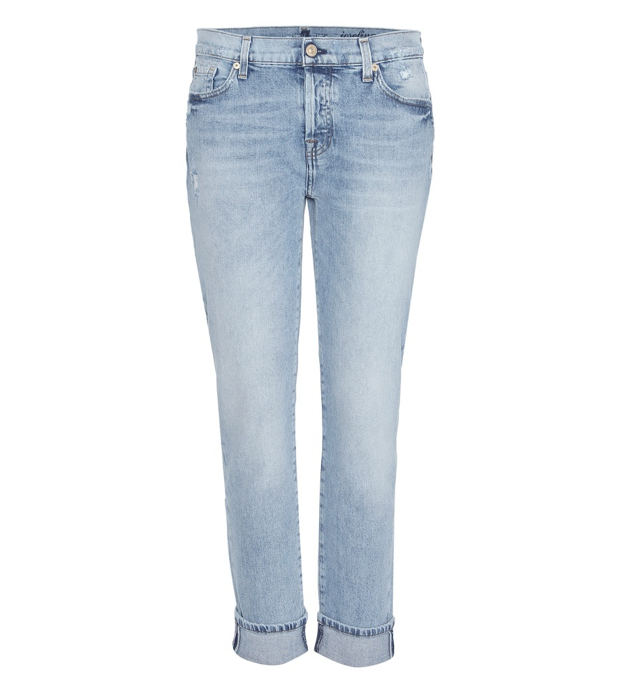 Josefina Boyfriend Jeans - pattern: plain; waist: low rise; pocket detail: traditional 5 pocket; style: slim leg; predominant colour: denim; occasions: casual; length: ankle length; fibres: cotton - stretch; jeans & bottoms detail: turn ups; texture group: denim; pattern type: fabric; season: s/s 2016; wardrobe: basic