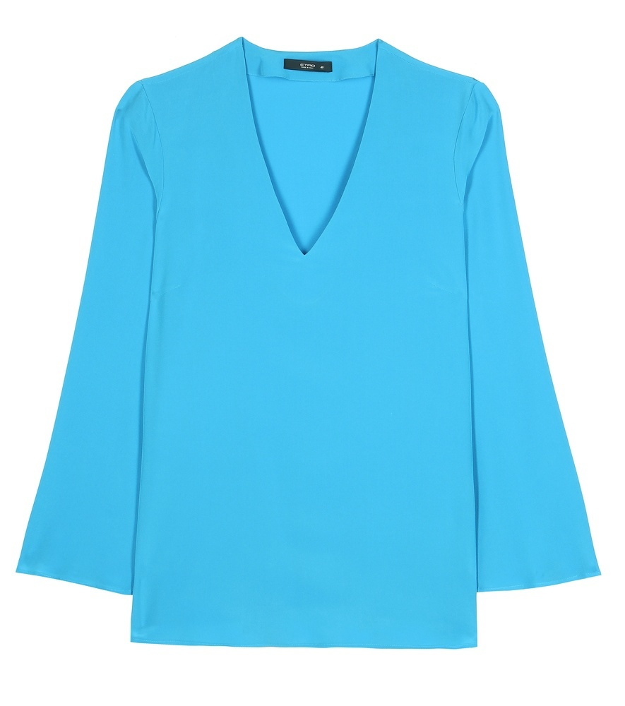 Silk Blouse - neckline: v-neck; sleeve style: angel/waterfall; pattern: plain; style: blouse; predominant colour: diva blue; occasions: casual, creative work; length: standard; fibres: silk - 100%; fit: straight cut; sleeve length: long sleeve; texture group: crepes; pattern type: fabric; season: s/s 2016; wardrobe: highlight