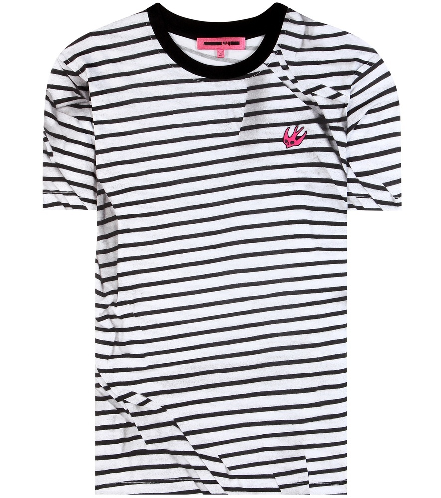 Striped Cotton T Shirt - neckline: round neck; pattern: horizontal stripes; style: t-shirt; predominant colour: white; secondary colour: black; occasions: casual, creative work; length: standard; fibres: cotton - 100%; fit: body skimming; sleeve length: short sleeve; sleeve style: standard; trends: monochrome, graphic stripes; texture group: cotton feel fabrics; pattern type: fabric; pattern size: light/subtle; season: s/s 2016