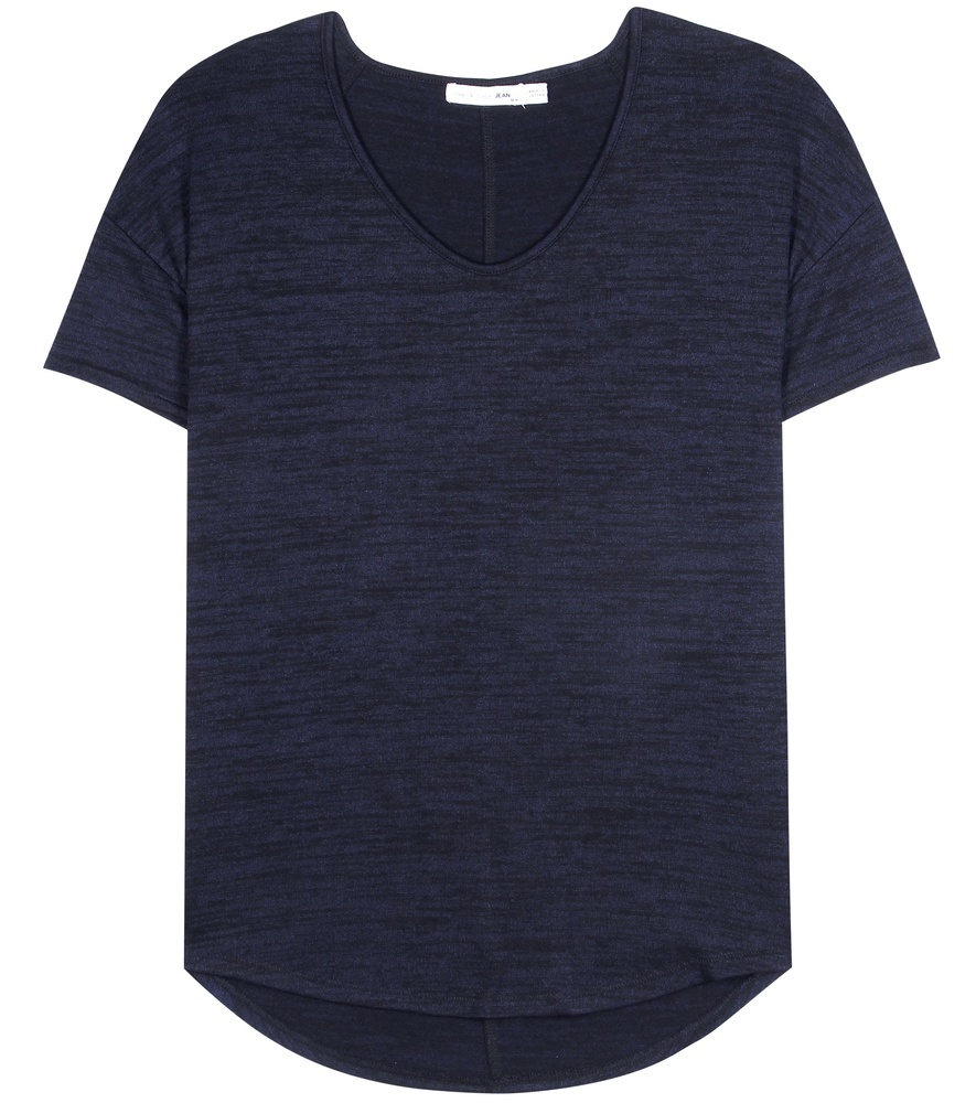 Melrose T Shirt - neckline: low v-neck; pattern: plain; style: t-shirt; predominant colour: navy; occasions: casual, creative work; length: standard; fibres: polyester/polyamide - stretch; fit: body skimming; sleeve length: short sleeve; sleeve style: standard; texture group: cotton feel fabrics; pattern type: fabric; season: s/s 2016; wardrobe: basic