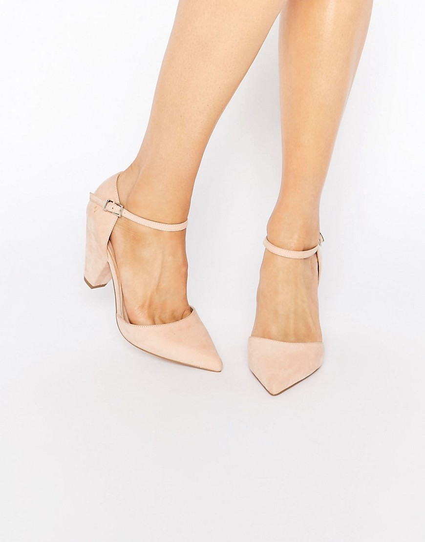 Speaker Pointed Heels Nude - predominant colour: nude; occasions: evening, occasion; material: fabric; heel height: mid; ankle detail: ankle strap; heel: standard; toe: pointed toe; style: slingbacks; finish: plain; pattern: plain; season: s/s 2016; wardrobe: event