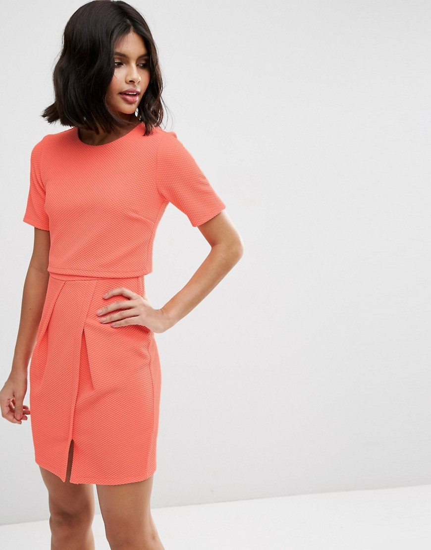 Textured Double Layer Mini Wiggle Dress Coral - style: shift; length: mid thigh; fit: tailored/fitted; pattern: plain; predominant colour: coral; occasions: evening; fibres: polyester/polyamide - stretch; neckline: crew; hip detail: slits at hip; sleeve length: short sleeve; sleeve style: standard; pattern type: fabric; texture group: other - light to midweight; season: s/s 2016; wardrobe: event