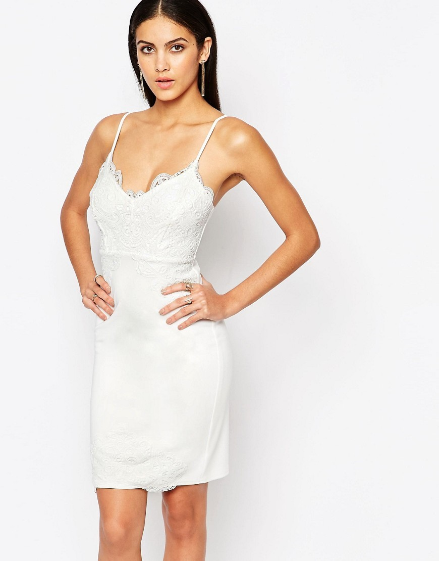 Lace Cami Midi Dress White - style: shift; length: mid thigh; neckline: low v-neck; sleeve style: spaghetti straps; pattern: plain; predominant colour: white; occasions: evening; fit: body skimming; fibres: polyester/polyamide - stretch; sleeve length: sleeveless; pattern type: fabric; texture group: jersey - stretchy/drapey; embellishment: lace; season: s/s 2016