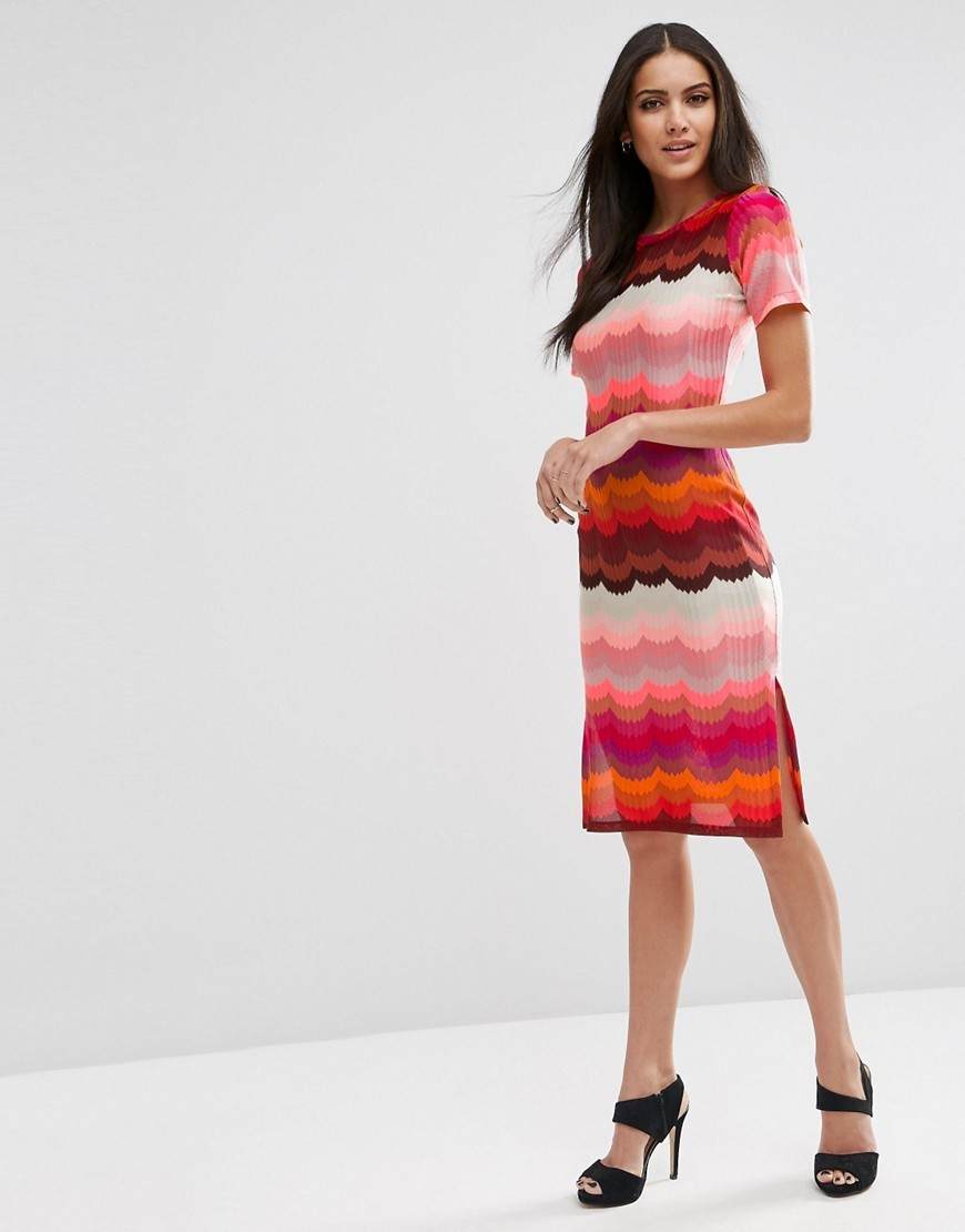 Rainbow Bright Pencil Dress Pink - style: shift; neckline: round neck; secondary colour: pink; predominant colour: true red; occasions: evening, occasion; length: on the knee; fit: soft a-line; fibres: polyester/polyamide - 100%; sleeve length: short sleeve; sleeve style: standard; pattern type: fabric; pattern size: standard; pattern: patterned/print; texture group: other - light to midweight; multicoloured: multicoloured; season: s/s 2016