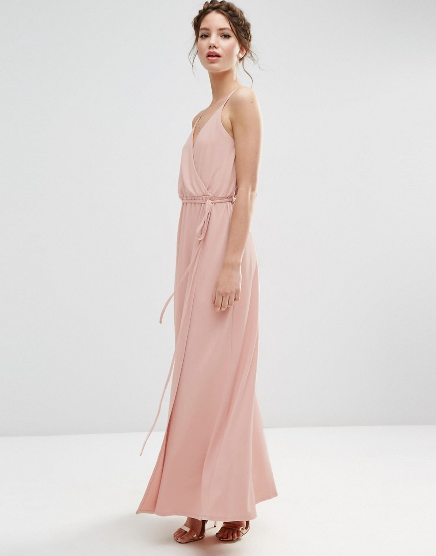 Wedding Crepe Strappy Wrap Maxi Dress Pink - neckline: low v-neck; sleeve style: spaghetti straps; fit: fitted at waist; pattern: plain; style: maxi dress; length: ankle length; predominant colour: blush; fibres: polyester/polyamide - stretch; occasions: occasion; sleeve length: sleeveless; texture group: crepes; pattern type: fabric; season: s/s 2016