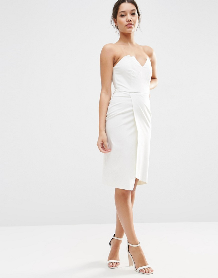 Asymmetric Bandeau Midi Dress White - style: shift; length: below the knee; neckline: strapless (straight/sweetheart); fit: tailored/fitted; pattern: plain; sleeve style: sleeveless; waist detail: flattering waist detail; predominant colour: white; fibres: cotton - mix; occasions: occasion; sleeve length: sleeveless; pattern type: fabric; texture group: woven light midweight; season: s/s 2016; wardrobe: event