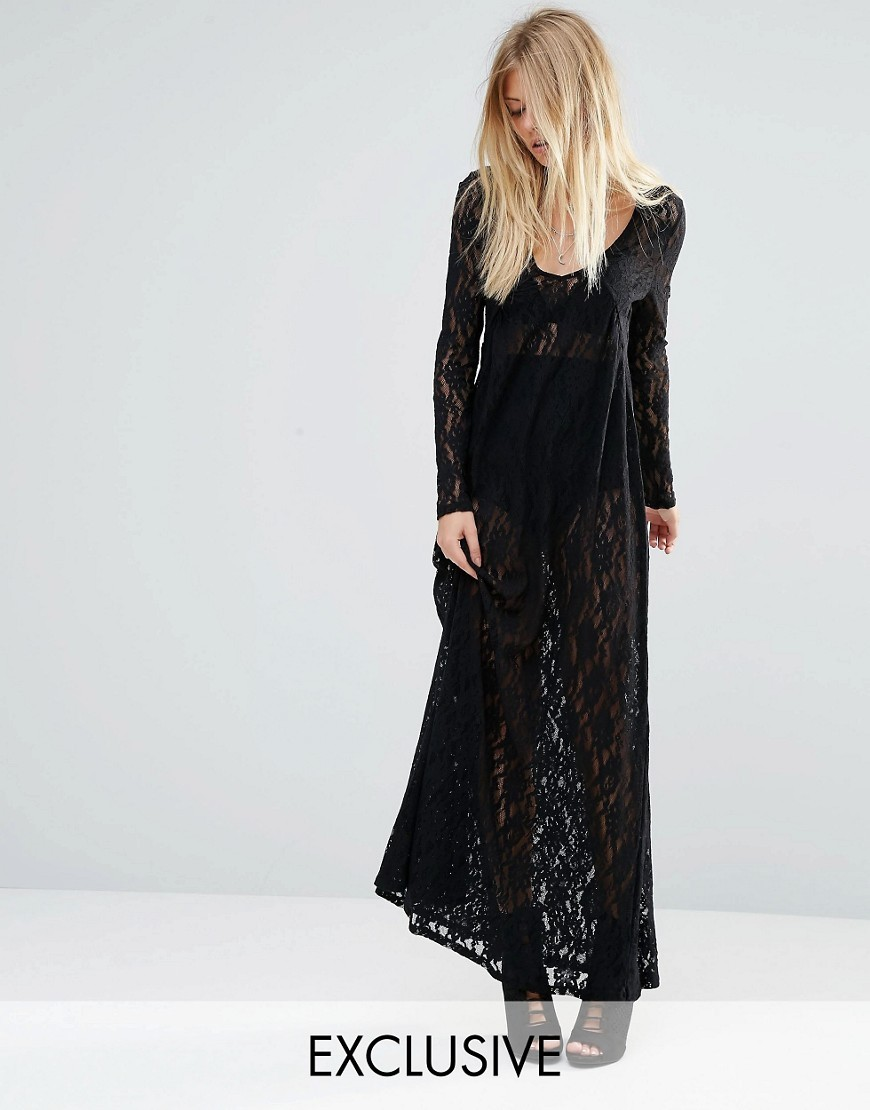 X Bloody Noisy Sheer Maxi Dress In All Over Lace Black - fit: loose; style: maxi dress; length: ankle length; predominant colour: black; occasions: casual; neckline: scoop; fibres: polyester/polyamide - 100%; sleeve length: long sleeve; sleeve style: standard; texture group: lace; pattern type: fabric; pattern: patterned/print; embellishment: lace; season: s/s 2016; wardrobe: highlight