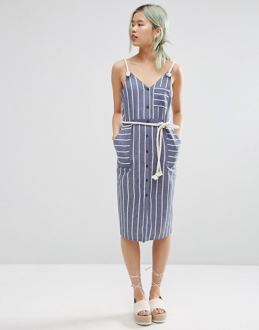 Sundress In Stripe Print With Rope Straps Multi - style: shift; length: below the knee; neckline: v-neck; sleeve style: sleeveless; pattern: striped; waist detail: belted waist/tie at waist/drawstring; secondary colour: white; predominant colour: denim; occasions: casual; fit: body skimming; fibres: cotton - 100%; sleeve length: sleeveless; pattern type: fabric; texture group: other - light to midweight; season: s/s 2016; wardrobe: highlight