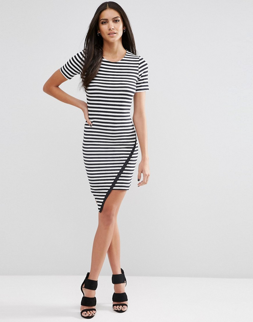 Asymmetric Bodycon Dress In Stripe Multi - length: mid thigh; neckline: round neck; fit: tight; style: bodycon; pattern: striped; secondary colour: white; predominant colour: black; occasions: evening; fibres: cotton - stretch; sleeve length: short sleeve; sleeve style: standard; trends: monochrome; texture group: jersey - clingy; pattern type: fabric; season: s/s 2016