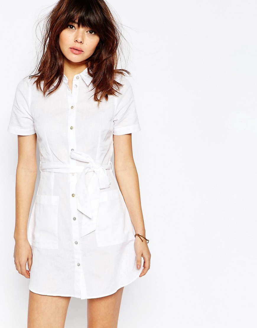 Linen Shirt Dress White - style: shirt; length: mid thigh; neckline: shirt collar/peter pan/zip with opening; pattern: plain; predominant colour: white; occasions: casual, creative work; fit: body skimming; fibres: linen - mix; sleeve length: short sleeve; sleeve style: standard; texture group: linen; pattern type: fabric; season: s/s 2016; wardrobe: basic