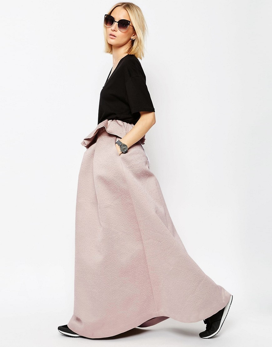 Textured Bonded Satin Skirt With Frill Detail Light Pink - pattern: plain; fit: loose/voluminous; waist: high rise; predominant colour: blush; length: floor length; style: a-line; fibres: polyester/polyamide - 100%; occasions: occasion; texture group: structured shiny - satin/tafetta/silk etc.; pattern type: fabric; season: s/s 2016; wardrobe: event