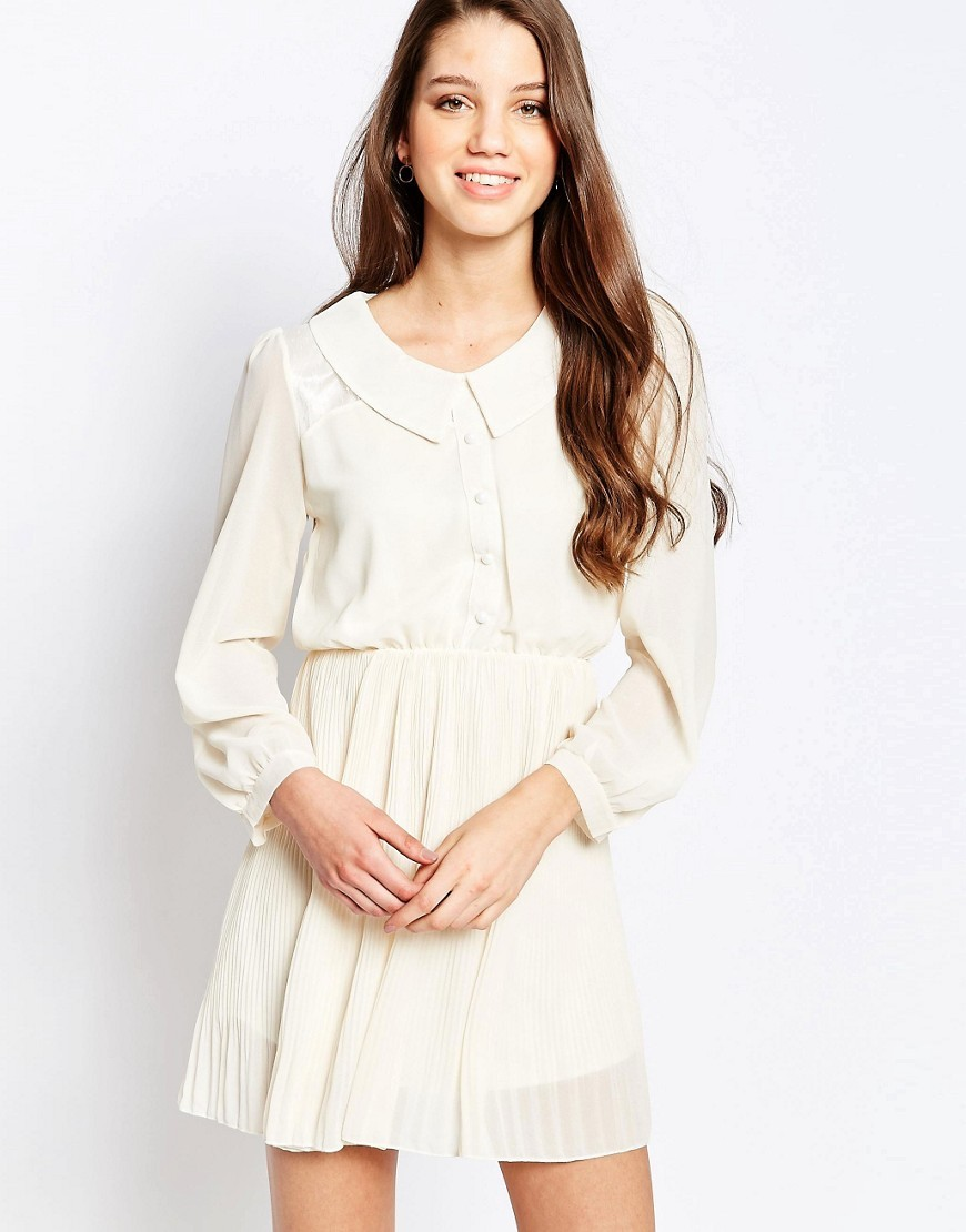Collared Skater Dress Cream - style: shirt; length: mid thigh; fit: fitted at waist; pattern: plain; predominant colour: ivory/cream; occasions: casual; fibres: polyester/polyamide - stretch; neckline: no opening/shirt collar/peter pan; sleeve length: long sleeve; sleeve style: standard; texture group: crepes; pattern type: fabric; season: s/s 2016; wardrobe: basic