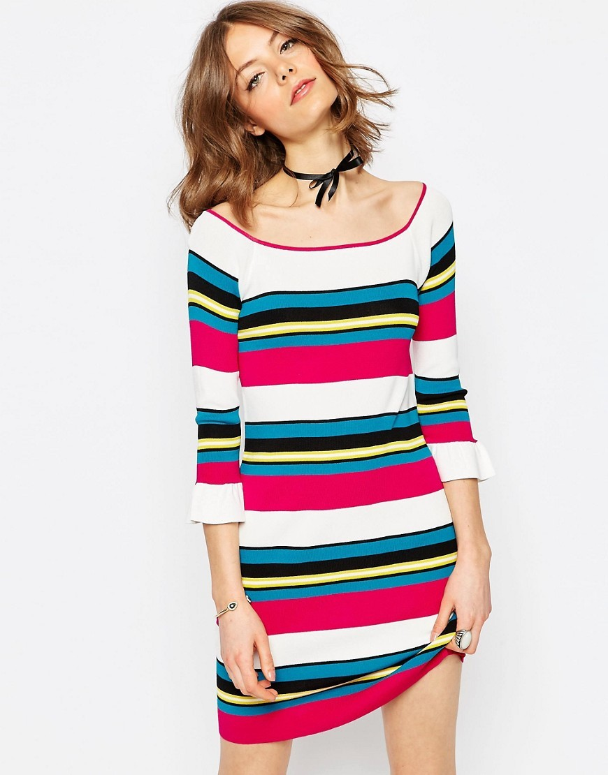 Dress In Structured Knit With Stripe Multi - style: shift; pattern: horizontal stripes; predominant colour: white; secondary colour: hot pink; occasions: casual, creative work; length: just above the knee; fit: body skimming; neckline: scoop; sleeve length: 3/4 length; sleeve style: standard; texture group: knits/crochet; pattern type: knitted - fine stitch; fibres: viscose/rayon - mix; multicoloured: multicoloured; season: s/s 2016; wardrobe: highlight