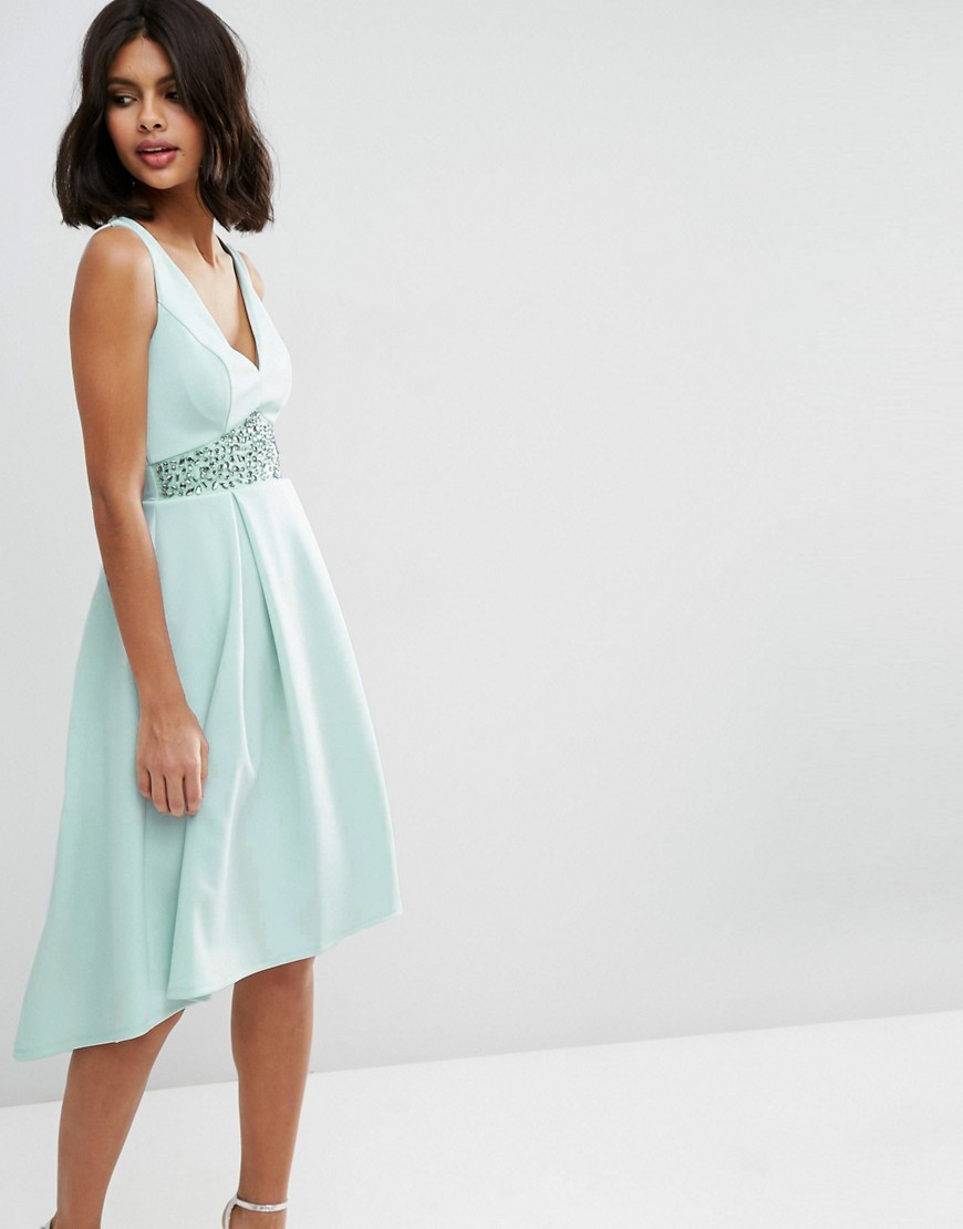 Debutante With Trim Waist Midi Dress Mint - length: below the knee; neckline: low v-neck; pattern: plain; sleeve style: sleeveless; predominant colour: pistachio; fit: fitted at waist & bust; style: fit & flare; fibres: polyester/polyamide - stretch; occasions: occasion; sleeve length: sleeveless; pattern type: fabric; texture group: other - light to midweight; embellishment: lace; season: s/s 2016; wardrobe: event; embellishment location: waist