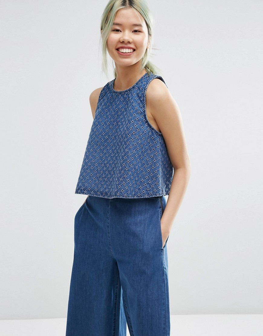 Denim Co Ord Cutwork Shell Top In Midwash Blue Mid Wash Blue - neckline: round neck; pattern: plain; sleeve style: sleeveless; predominant colour: denim; occasions: casual, creative work; length: standard; style: top; fibres: cotton - 100%; fit: loose; sleeve length: sleeveless; texture group: denim; pattern type: fabric; season: s/s 2016
