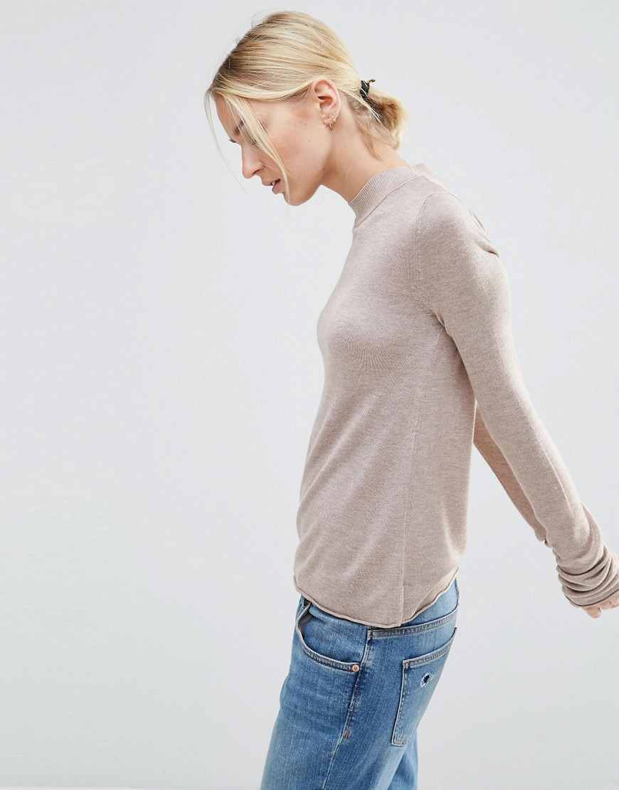 Jumper With Crew Neck In Soft Yarn Oatmeal Marl - pattern: plain; style: standard; predominant colour: stone; occasions: casual, work, creative work; length: standard; fibres: viscose/rayon - 100%; fit: standard fit; neckline: crew; sleeve length: long sleeve; sleeve style: standard; texture group: knits/crochet; pattern type: knitted - fine stitch; season: s/s 2016