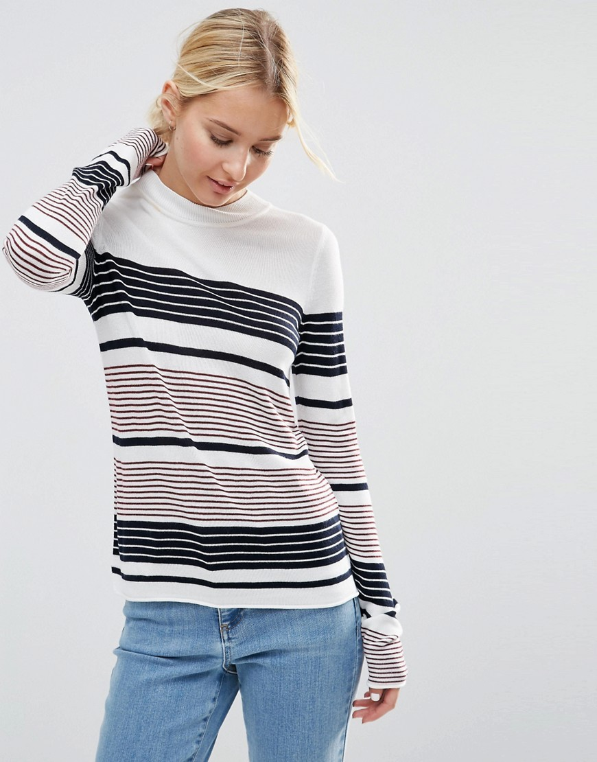 Jumper With Crew Neck In Stripe In Soft Yarn Multi - pattern: horizontal stripes; style: standard; secondary colour: white; predominant colour: black; occasions: casual, work, creative work; length: standard; fibres: viscose/rayon - 100%; fit: standard fit; neckline: crew; sleeve length: long sleeve; sleeve style: standard; texture group: knits/crochet; pattern type: knitted - fine stitch; pattern size: big & busy (top); multicoloured: multicoloured; season: s/s 2016; wardrobe: highlight