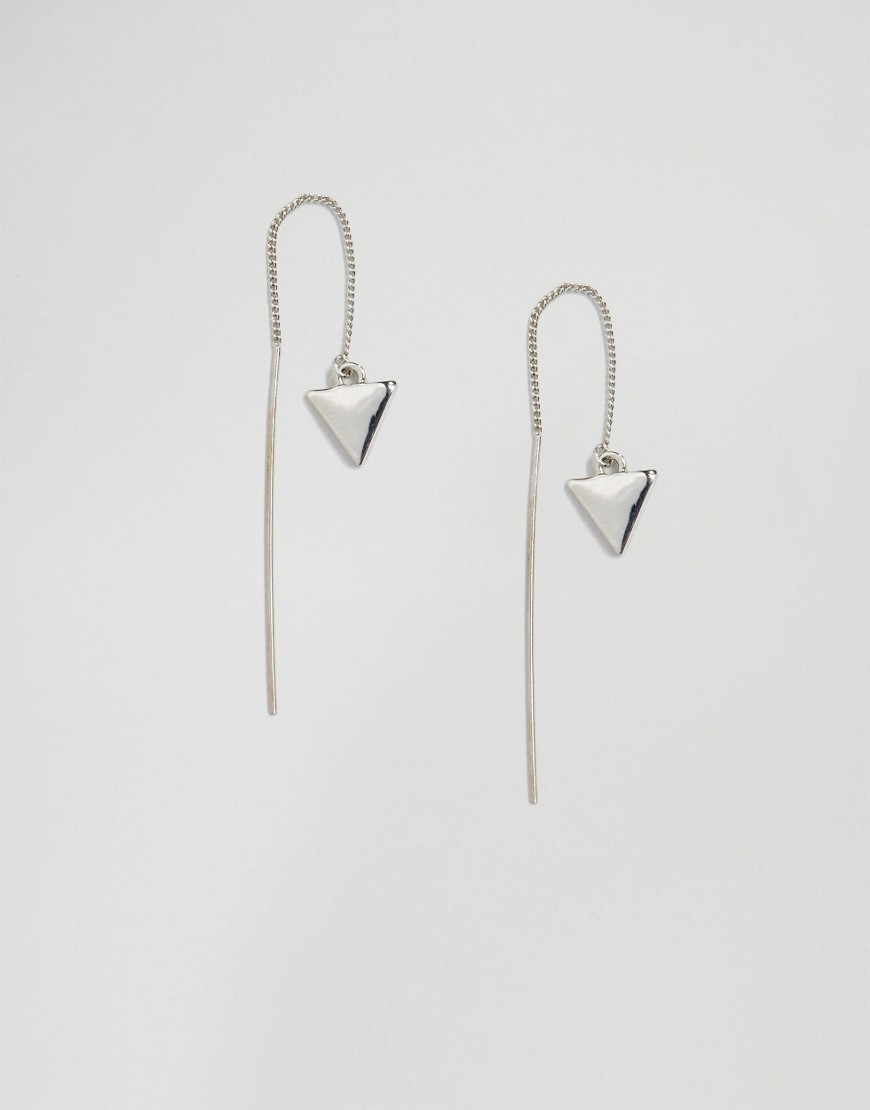 Zandra Dangle Through & Through Earrings Silver - predominant colour: silver; occasions: evening, occasion; style: drop; length: long; size: standard; material: chain/metal; fastening: pierced; finish: plain; season: s/s 2016; wardrobe: event