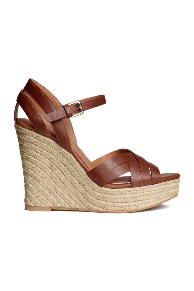 Wedge Heel Sandals - predominant colour: tan; occasions: casual, holiday; material: faux leather; heel height: high; ankle detail: ankle strap; heel: wedge; toe: open toe/peeptoe; style: strappy; finish: plain; pattern: plain; shoe detail: platform; season: s/s 2016