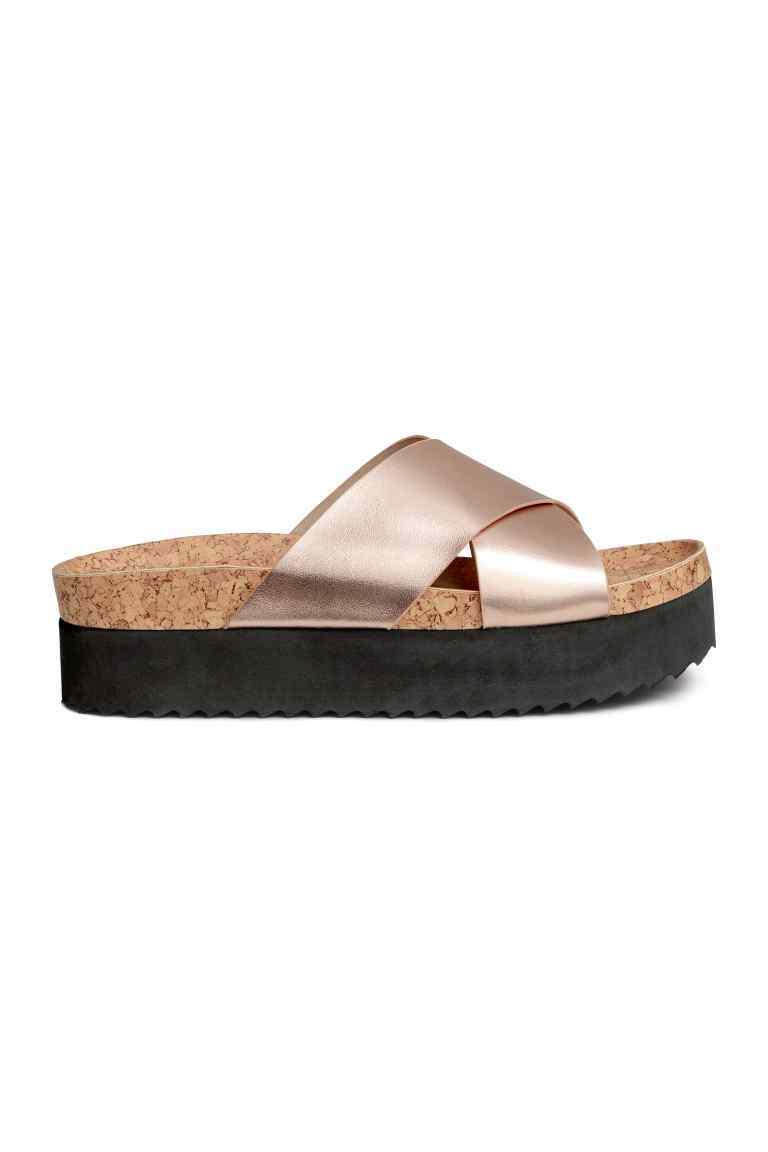 Platform Sandals - predominant colour: champagne; occasions: casual, holiday; material: faux leather; heel height: mid; heel: wedge; toe: open toe/peeptoe; style: slides; finish: metallic; pattern: plain; shoe detail: platform; season: s/s 2016; wardrobe: highlight
