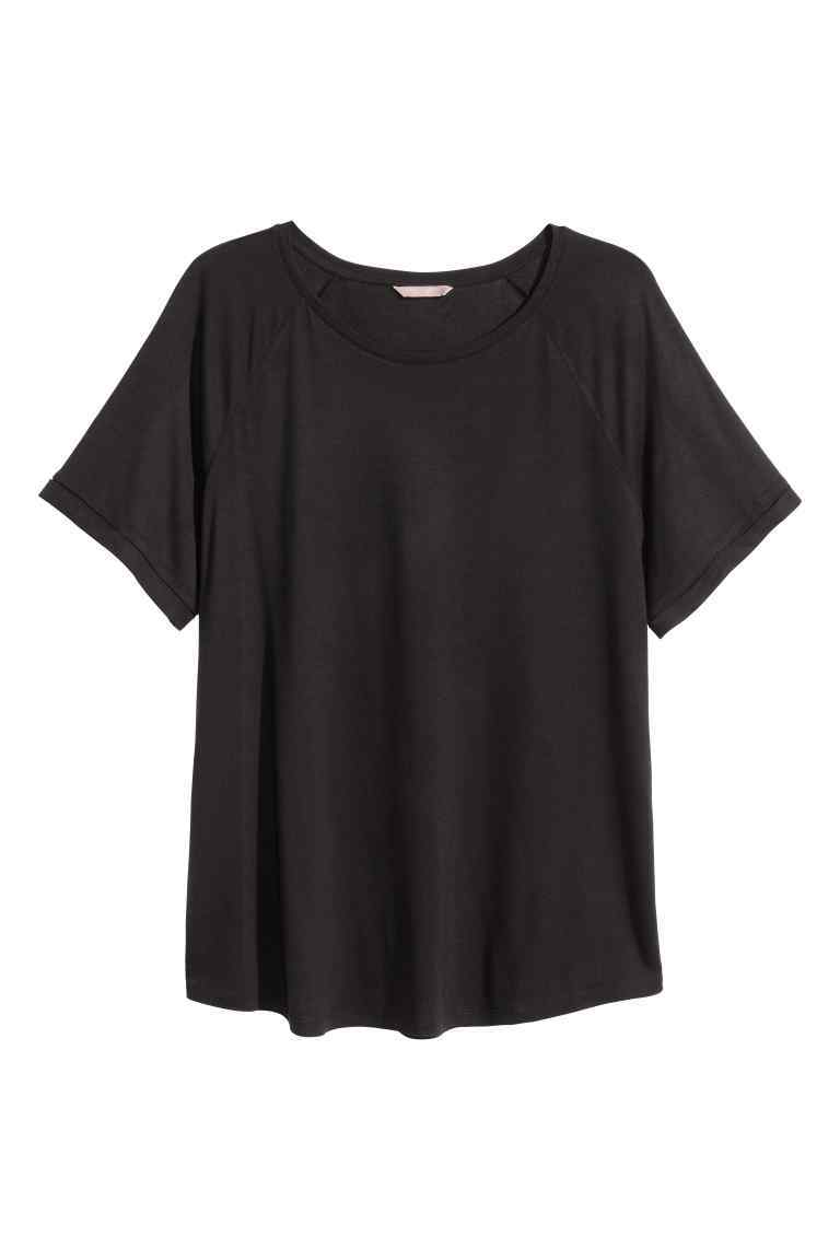 + Short Sleeved Top - neckline: round neck; pattern: plain; style: t-shirt; predominant colour: black; occasions: casual; length: standard; fibres: cotton - stretch; fit: loose; sleeve length: short sleeve; sleeve style: standard; pattern type: fabric; texture group: jersey - stretchy/drapey; season: s/s 2016; wardrobe: basic
