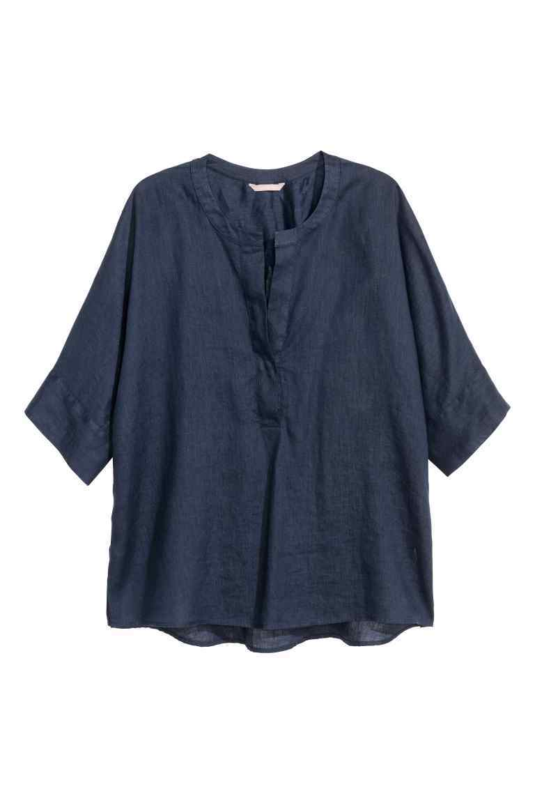 + Linen Shirt - sleeve style: dolman/batwing; pattern: plain; style: shirt; predominant colour: navy; occasions: casual; length: standard; neckline: collarstand & mandarin with v-neck; fibres: linen - 100%; fit: loose; sleeve length: 3/4 length; texture group: linen; pattern type: fabric; season: s/s 2016