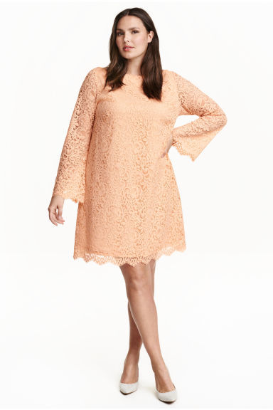+ Lace Dress - style: shift; sleeve style: angel/waterfall; predominant colour: nude; occasions: evening, occasion; length: just above the knee; fit: soft a-line; fibres: polyester/polyamide - 100%; neckline: crew; sleeve length: long sleeve; texture group: lace; pattern type: fabric; pattern size: standard; pattern: patterned/print; season: s/s 2016; wardrobe: event