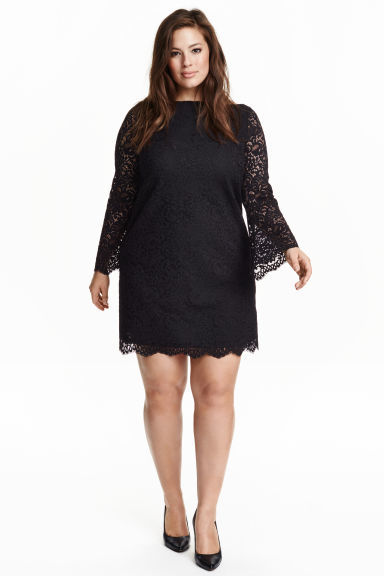 + Lace Dress - style: shift; length: mid thigh; sleeve style: angel/waterfall; predominant colour: black; occasions: evening; fit: soft a-line; fibres: polyester/polyamide - 100%; neckline: crew; sleeve length: long sleeve; texture group: lace; pattern type: fabric; pattern size: standard; pattern: patterned/print; season: s/s 2016; wardrobe: event