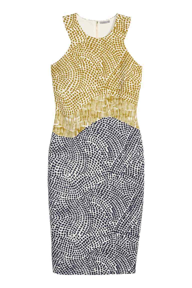 Patterned Dress - style: shift; neckline: round neck; fit: tight; sleeve style: sleeveless; secondary colour: lime; predominant colour: black; occasions: evening; length: on the knee; fibres: polyester/polyamide - stretch; sleeve length: sleeveless; pattern type: fabric; pattern size: standard; pattern: patterned/print; texture group: jersey - stretchy/drapey; season: s/s 2016; wardrobe: event