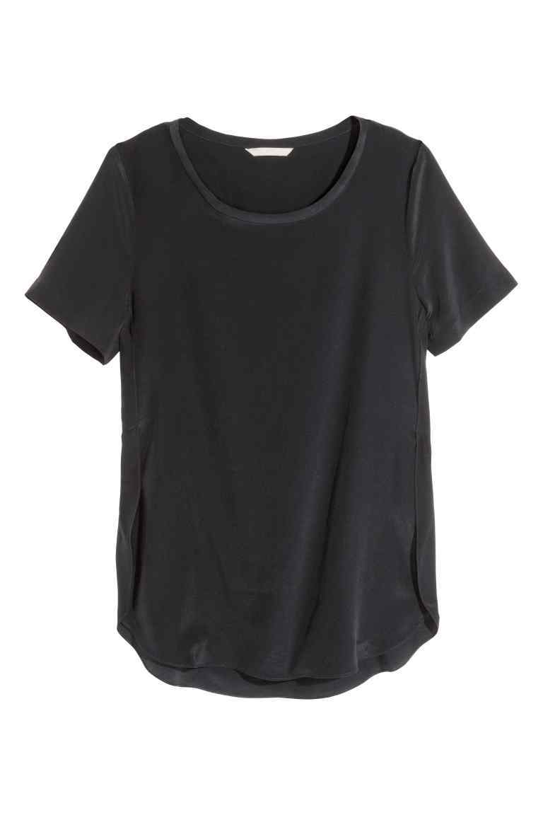 Silk Blouse - neckline: round neck; pattern: plain; style: t-shirt; predominant colour: black; occasions: casual, creative work; length: standard; fibres: silk - 100%; fit: loose; sleeve length: short sleeve; sleeve style: standard; pattern type: fabric; texture group: jersey - stretchy/drapey; season: s/s 2016; wardrobe: basic