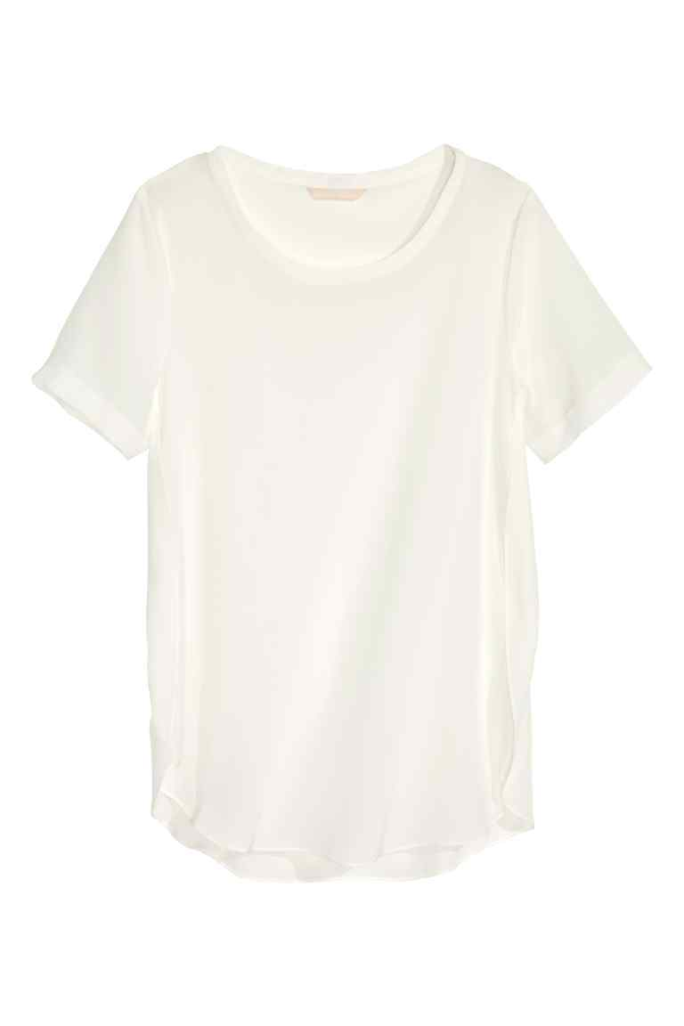 Silk Blouse - neckline: round neck; pattern: plain; style: t-shirt; predominant colour: white; occasions: casual, creative work; length: standard; fibres: silk - 100%; fit: straight cut; sleeve length: short sleeve; sleeve style: standard; texture group: silky - light; pattern type: fabric; season: s/s 2016; wardrobe: basic