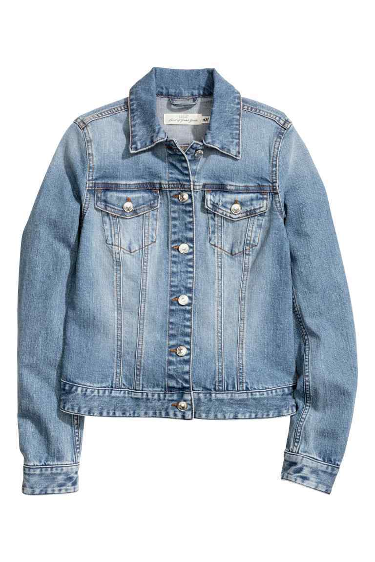 Denim Jacket - pattern: plain; style: denim; fit: slim fit; predominant colour: denim; occasions: casual, creative work; length: standard; fibres: cotton - stretch; collar: shirt collar/peter pan/zip with opening; sleeve length: long sleeve; sleeve style: standard; texture group: denim; collar break: high/illusion of break when open; pattern type: fabric; season: s/s 2016; wardrobe: basic