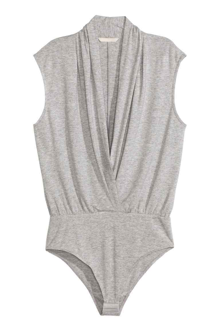 V Neck Body - neckline: low v-neck; pattern: plain; sleeve style: sleeveless; predominant colour: light grey; length: standard; fibres: viscose/rayon - stretch; fit: tight; sleeve length: sleeveless; pattern type: fabric; texture group: jersey - stretchy/drapey; style: bodysuit; occasions: creative work; season: s/s 2016; wardrobe: basic