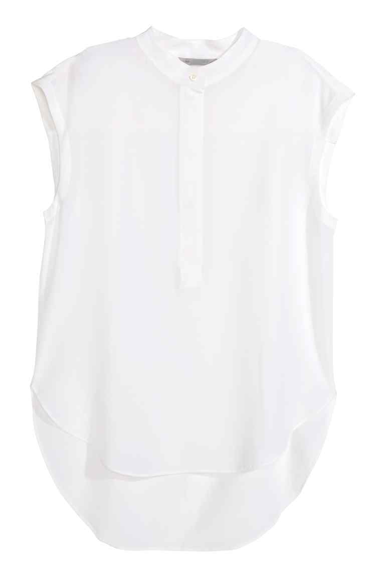 Silk Blouse With Cap Sleeves - pattern: plain; sleeve style: sleeveless; length: below the bottom; style: blouse; bust detail: buttons at bust (in middle at breastbone)/zip detail at bust; predominant colour: white; occasions: casual, creative work; neckline: collarstand; fibres: silk - 100%; fit: body skimming; sleeve length: sleeveless; texture group: silky - light; pattern type: fabric; season: s/s 2016