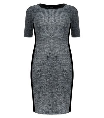 Curves Grey Contrast Trim Ribbed Bodycon Dress - length: mid thigh; neckline: round neck; fit: tight; pattern: plain; style: bodycon; predominant colour: charcoal; secondary colour: mid grey; occasions: evening; fibres: polyester/polyamide - stretch; sleeve length: short sleeve; sleeve style: standard; texture group: jersey - clingy; pattern type: fabric; season: s/s 2016; wardrobe: event
