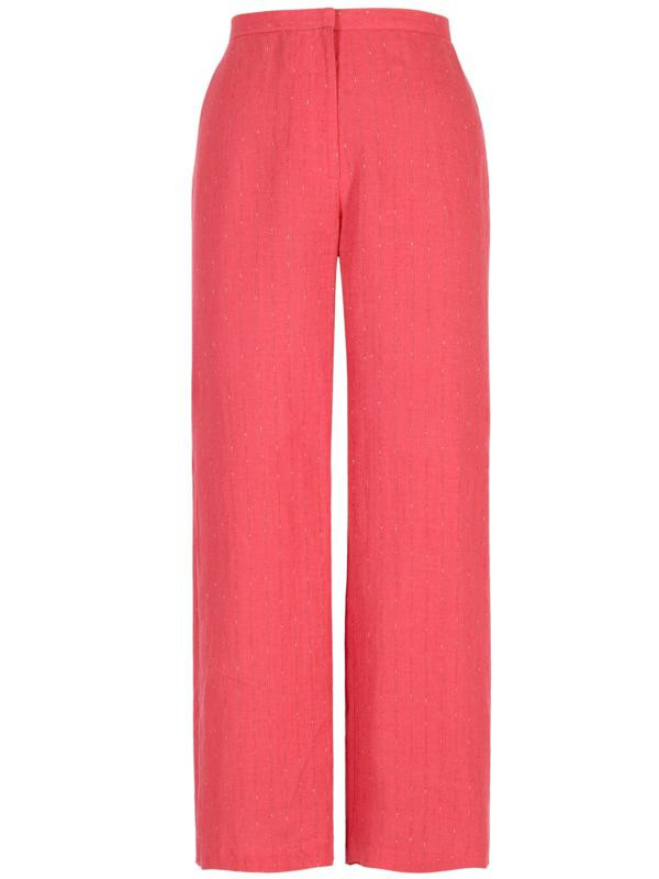Coral Pinstripe Trouser - length: standard; pattern: pinstripe; waist: high rise; predominant colour: coral; fibres: linen - mix; occasions: occasion; fit: wide leg; pattern type: fabric; texture group: other - light to midweight; style: standard; season: s/s 2016; wardrobe: event