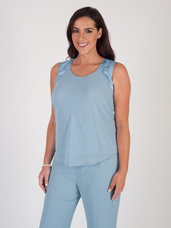 Powder Blue Chiffon Camisole - neckline: round neck; pattern: plain; sleeve style: sleeveless; style: camisole; predominant colour: pale blue; occasions: casual; length: standard; fibres: polyester/polyamide - 100%; fit: body skimming; sleeve length: sleeveless; texture group: sheer fabrics/chiffon/organza etc.; pattern type: fabric; season: s/s 2016; wardrobe: highlight