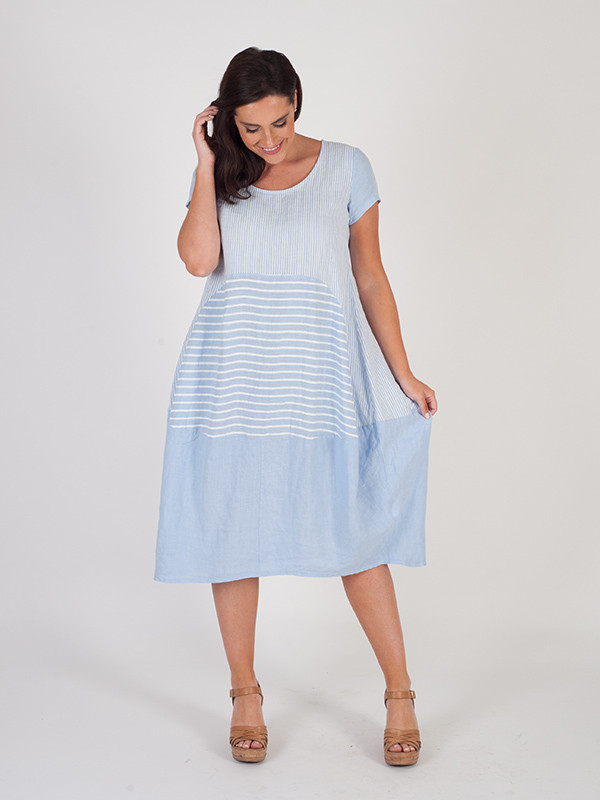Sky Blue Mixed Stripe Linen Dress - style: a-line; length: below the knee; neckline: round neck; fit: loose; pattern: plain; predominant colour: pale blue; occasions: casual, holiday; fibres: linen - 100%; sleeve length: short sleeve; sleeve style: standard; texture group: linen; pattern type: fabric; season: s/s 2016; wardrobe: highlight