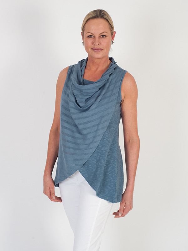 Vetono Steel Blue Cowl Neck Wrap Sleeveless Top - neckline: cowl/draped neck; pattern: horizontal stripes; sleeve style: sleeveless; style: vest top; predominant colour: denim; occasions: casual; length: standard; fibres: cotton - 100%; fit: loose; sleeve length: sleeveless; pattern type: fabric; texture group: jersey - stretchy/drapey; season: s/s 2016; wardrobe: highlight
