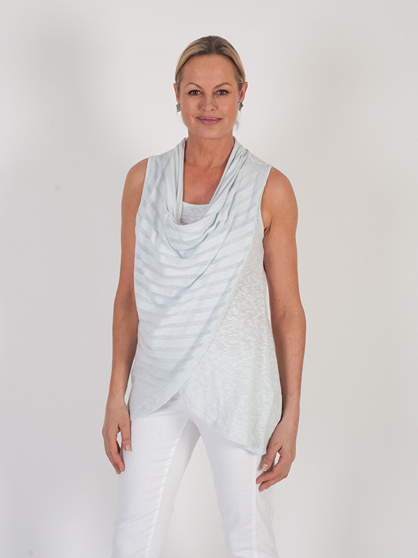 Vetono Light Blue Cowl Neck Wrap Sleeveless Top - neckline: cowl/draped neck; pattern: horizontal stripes; sleeve style: sleeveless; length: below the bottom; style: vest top; predominant colour: pale blue; occasions: casual; fibres: cotton - mix; fit: loose; sleeve length: sleeveless; texture group: knits/crochet; pattern type: fabric; pattern size: light/subtle; season: s/s 2016; wardrobe: highlight